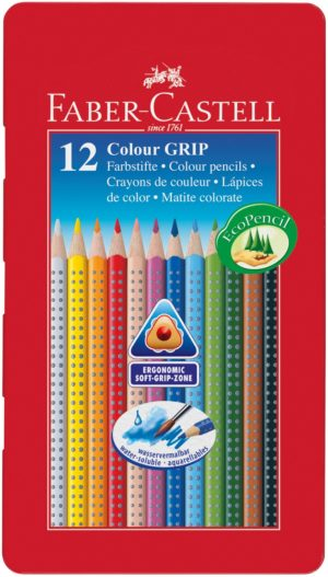 Faber-Castell Playing & Learning 12 GRIP 2001 Colour Pencils Tin-0